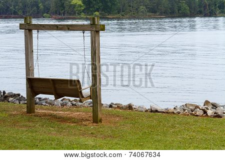 Wooden Swing Out Along Lake Murray