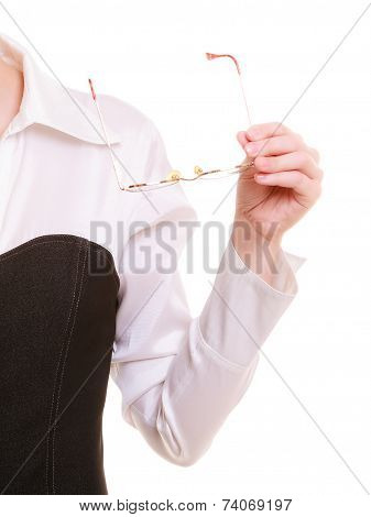 Vision Defect. Eyeglasses In Female Hand Isolated On White.