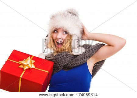 Winter Girl With Red Gift Box Isolated