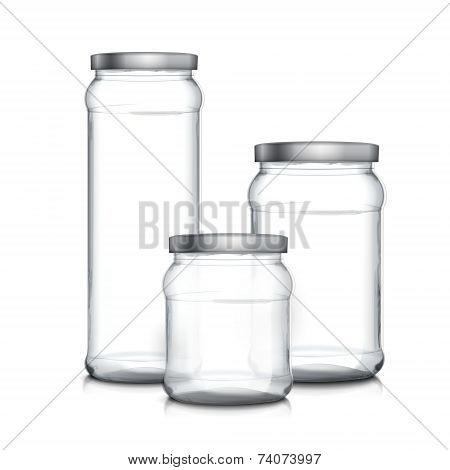 Empty Glass Jars Set