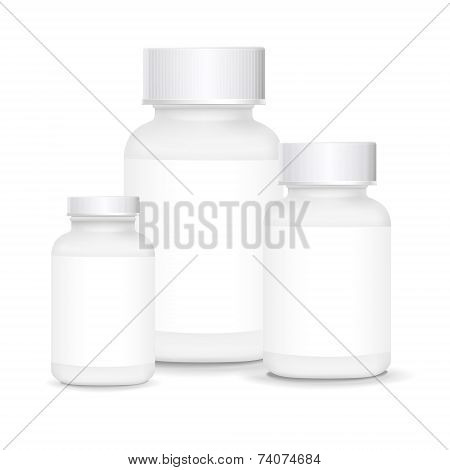White Plastic Medical Containers