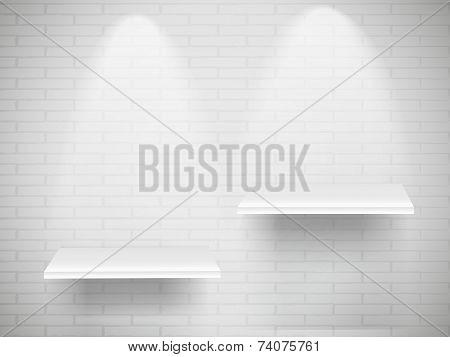Blank White Shelves With Illumination