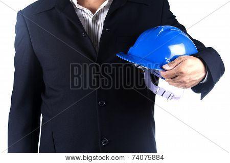 Architect Man Holding Safety Hamlet