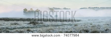 Panorama Landscape Of Foggy Autumn Fall Sunrise Over Frosty Fields With Forest Visible Through Fog I