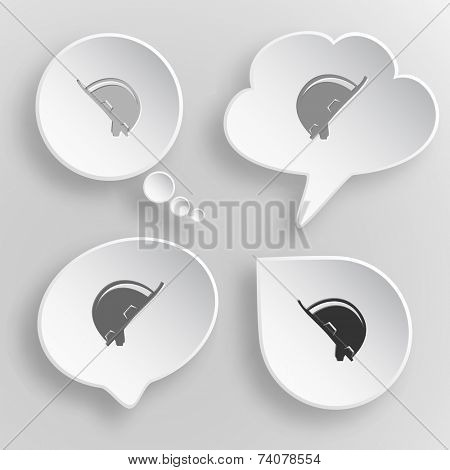 Hard hat. White flat vector buttons on gray background.