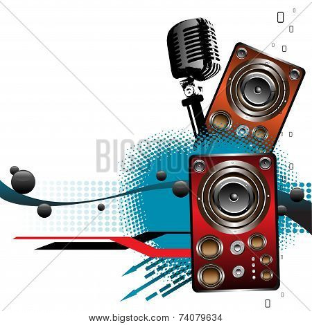 Microphone and loudspeakers
