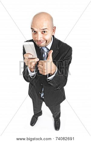 Happy Businessman Using Compulsively Cell Phone Smiling In Mobile Addiction Concept