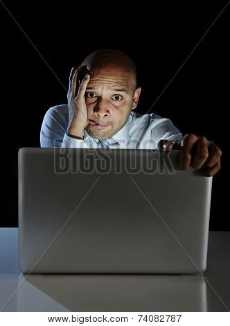 Addict Man At Computer Laptop Watching Porn Internet Addiction Concept