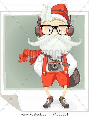 Santa Claus Hipster Style Cartoon