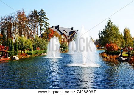 Novi Petrivtsi, Ukraine - October 14: The Fountain And