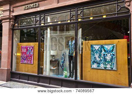 Luxury shopping window display.
