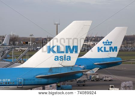 Two KLM airplanes.