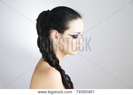 Professional Makeup And Hairstyle Beautiful Young Woman