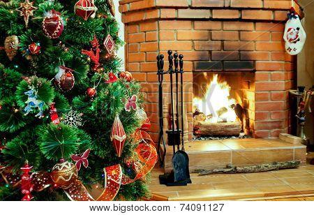 Fireplace On Christmas Eve