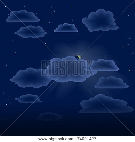 transparent clouds on night sky