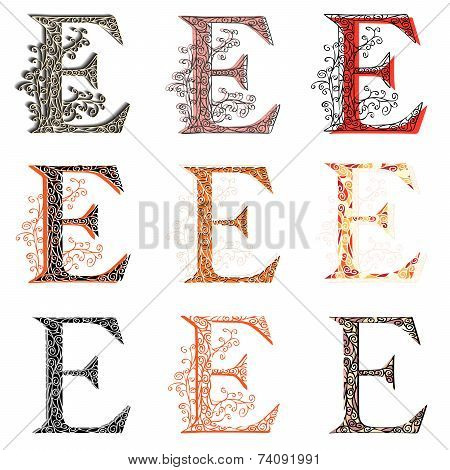 Various Combination Fishnet Letter E.
