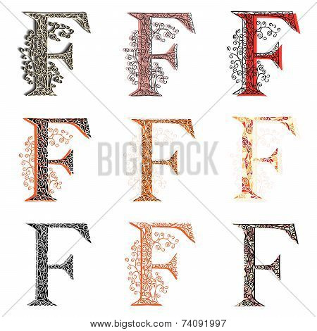 Various Combination Fishnet Letter F.