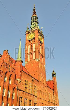 Gdansk Town Hall In The Evening