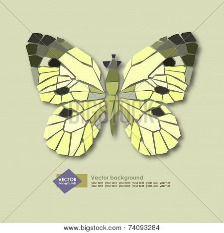 Abstract Stylized Butterfly On A Light Background.