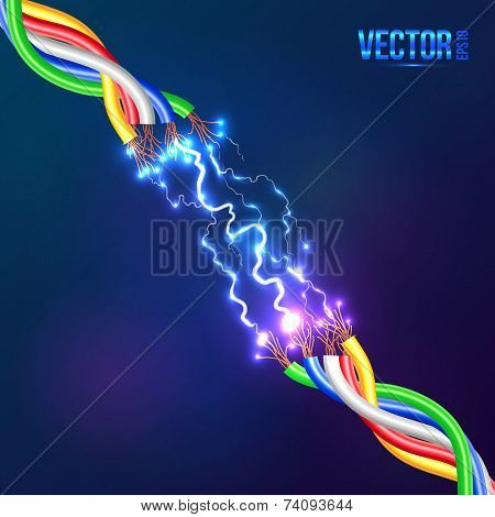 Electric lightning between colored cables