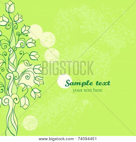 Vector iridescent spring card. Ornament Tree