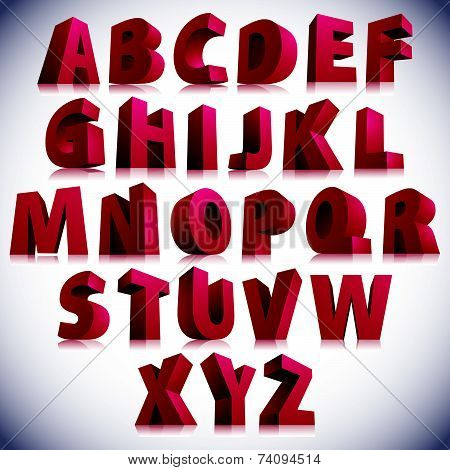 3D font, big red letters standing, contemporary eps 8 script.