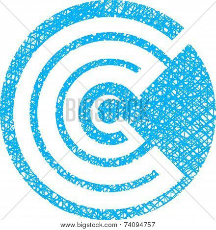 Abstract icon, copyright symbol with hand drawn lines texture.