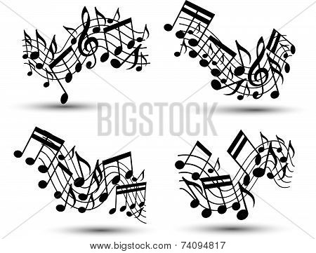 Black jolly wavy staves with musical notes on white background, decorative set of musical notation