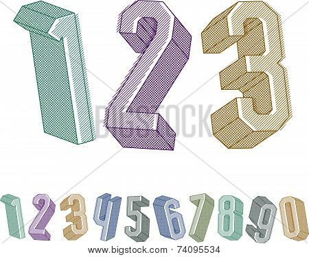 3d geometric numbers set with lines textures, colorful numerals for advertising and web design.