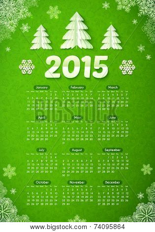 Green 2015 new year calendar with paper Christmas trees