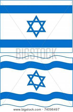 Flat and waving Israeli Flag. Vector