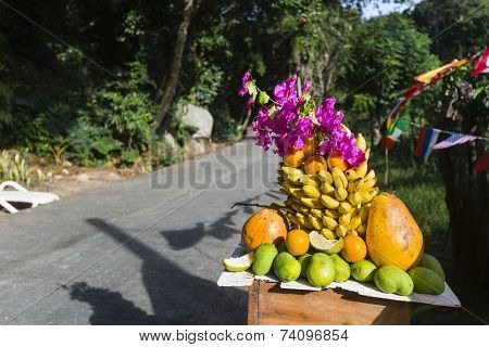 Fruit Display By The Road, Seychelles