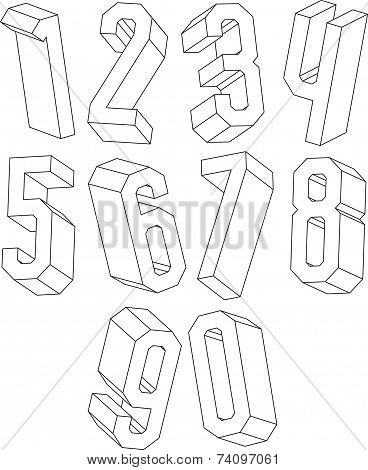 3d black and white geometric numbers made with lines, stylish simple shaped numerals for design.