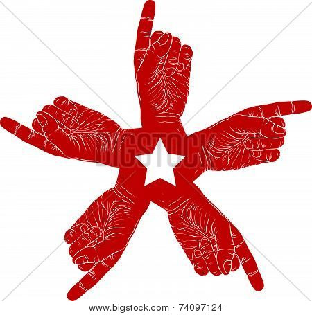 Five pointing hands abstract symbol with pentagonal star, black and white special emblem