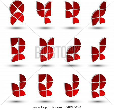 Abstract 3d geometric simple symbols set, technology icons.