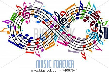 Forever music concept, infinity symbol made with musical notes and treble clef, idea for your music