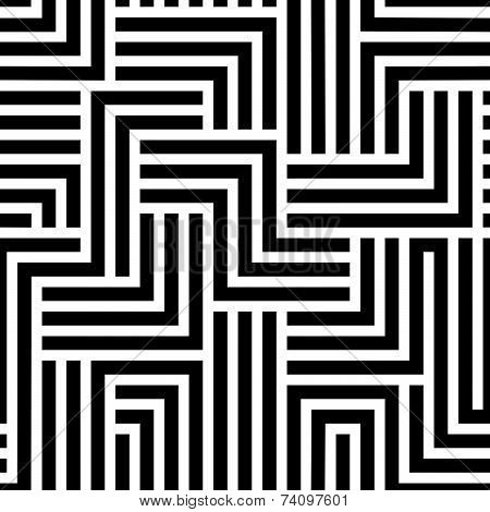 Maze seamless pattern, black and white illusive background.