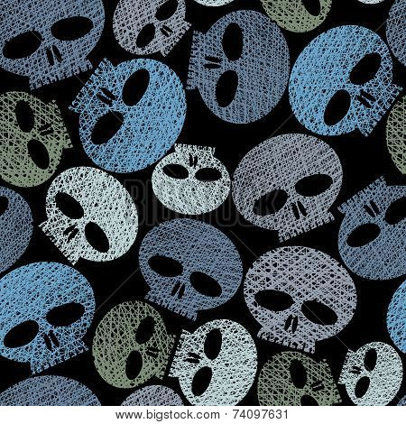 Skulls seamless pattern, horror and hard rock theme repeating background, hand drawn lines textures