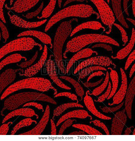 Red Hot Chilly Peppers seamless pattern, Mexican food theme seamless background, hand drawn lines te