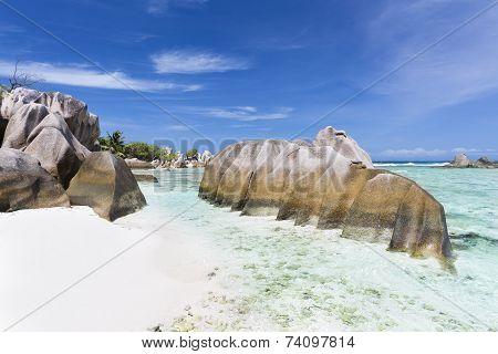 Granite Rocks And Beach, La Digue, Seychelles