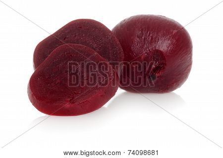 Cooked beets focus on slice