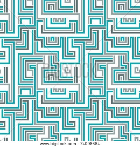 Maze seamless pattern, blue geometric cybernetic background.
