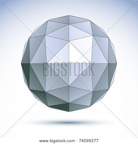 3D polygonal geometric object, abstract design element, clear eps 8.