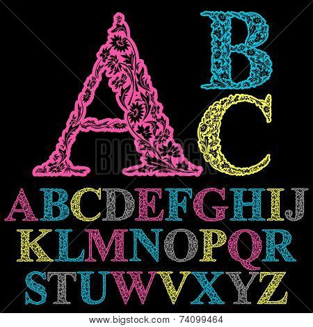 Beautiful floral letters font, flower-patterned colorful alphabet.