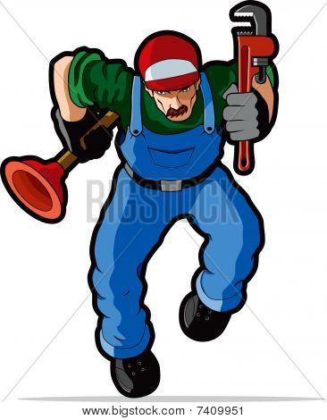 Plumber vector illustration.