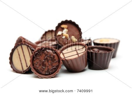 Mixed Chocolates Heap On White