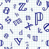 image of drow  - Vector illustration of hand drowing Alphabet Seamless Background - JPG
