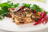 picture of aubergines  - Greek moussaka dish with eggplant or aubergine and minced meat - JPG