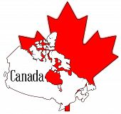 image of canada maple leaf  - Outline map of Canada over a white background with a large red maple leaf - JPG