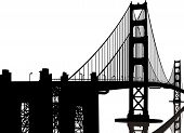 image of golden gate bridge  - A silhouette of the Golden Gate Bridge - JPG
